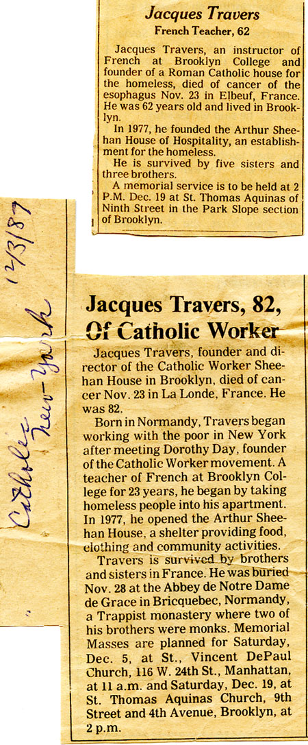 New York Times and Catholic Worker Obituaries